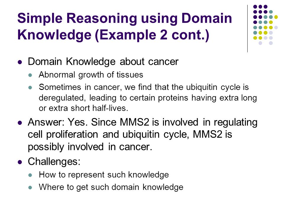 Simple Reasoning using Domain Knowledge (Example 2 cont.)
