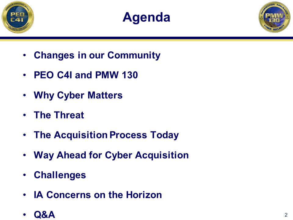 Agenda Changes in our Community PEO C4I and PMW 130 Why Cyber Matters