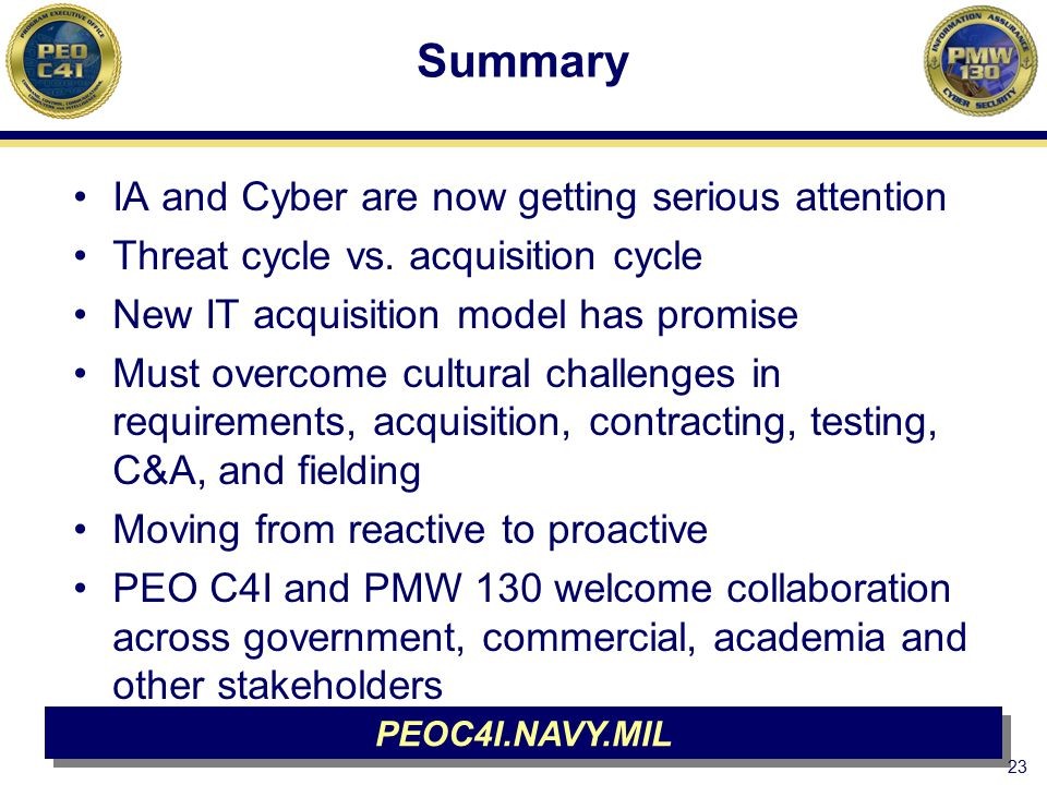 Summary IA and Cyber are now getting serious attention