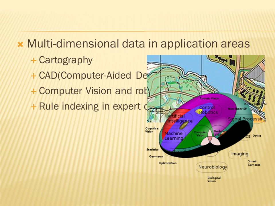 Multi-dimensional data in application areas