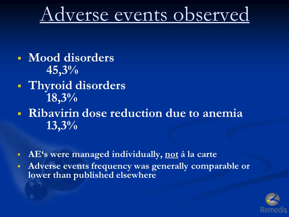 Adverse events observed