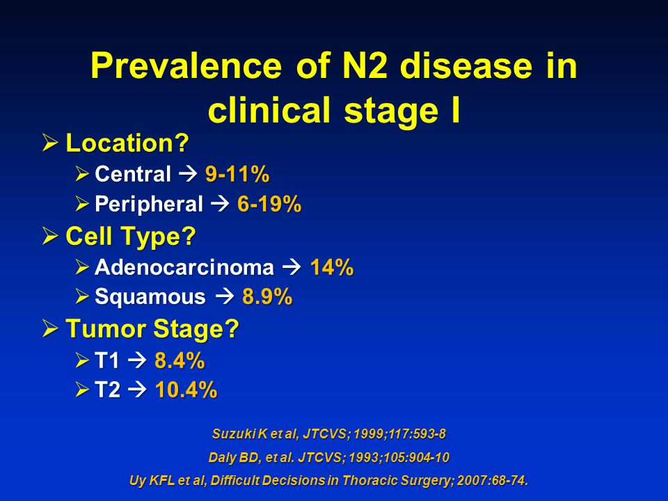 Prevalence of N2 disease in clinical stage I