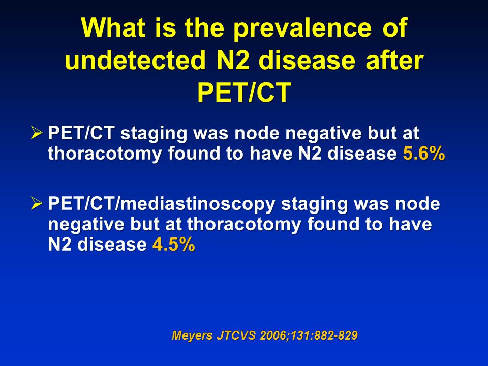 What is the prevalence of undetected N2 disease after PET/CT
