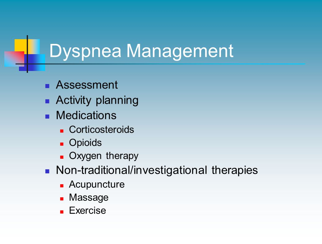 Dyspnea Management Assessment Activity planning Medications