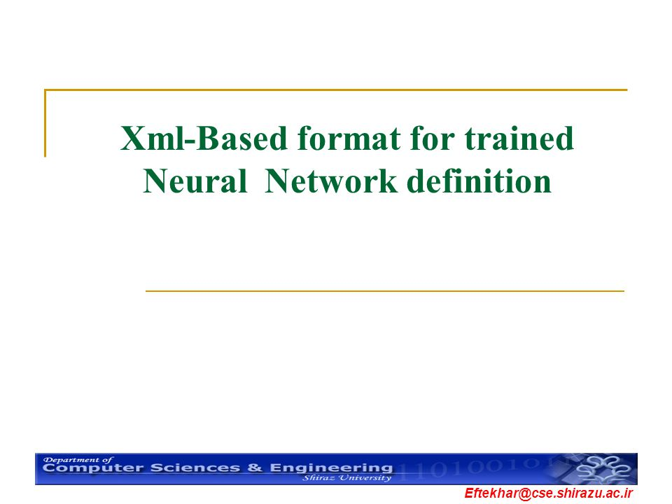 Xml-Based format for trained Neural Network definition