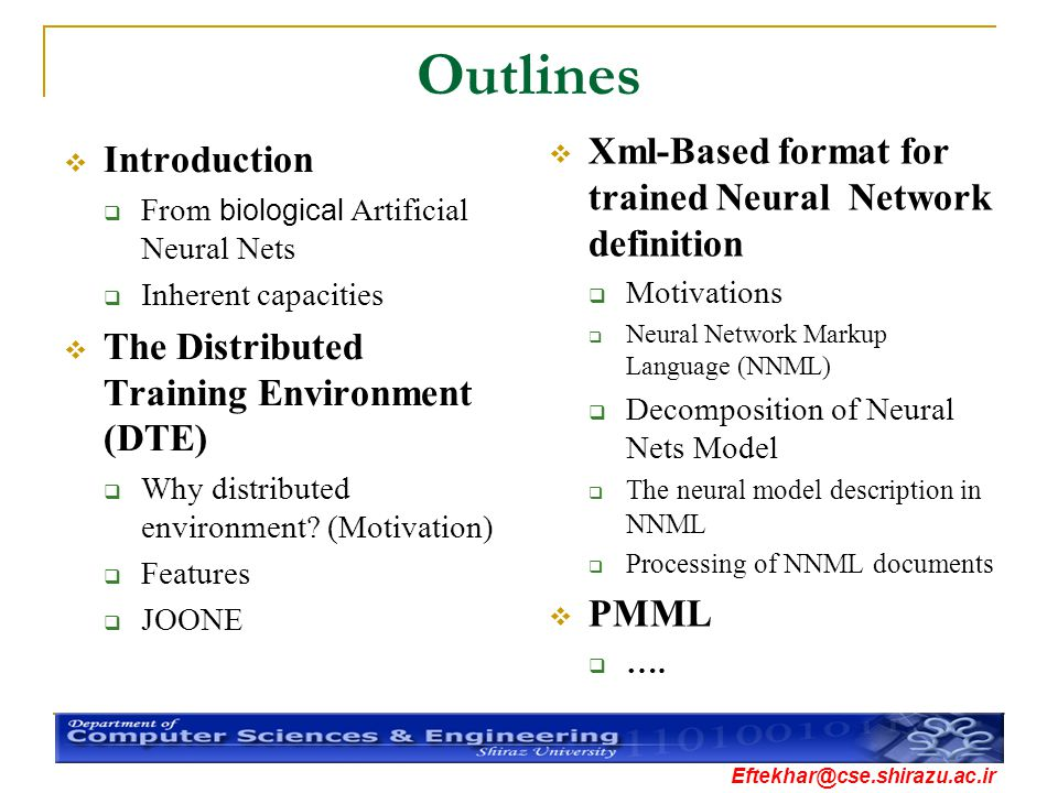 Outlines Xml-Based format for trained Neural Network definition