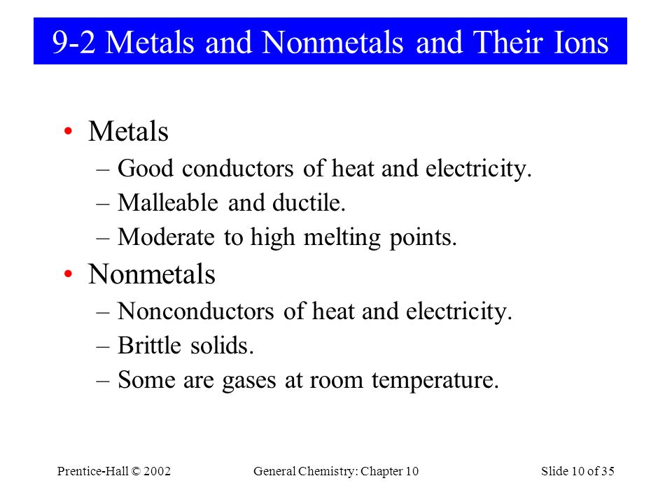 9-2 Metals and Nonmetals and Their Ions