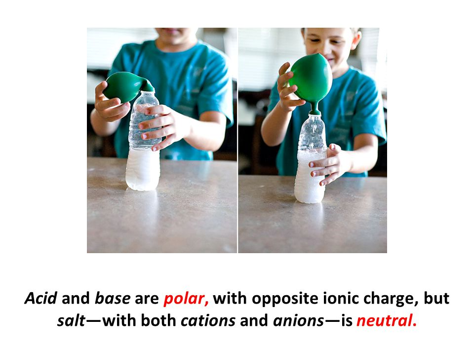 Acid and base are polar, with opposite ionic charge, but salt—with both cations and anions—is neutral.