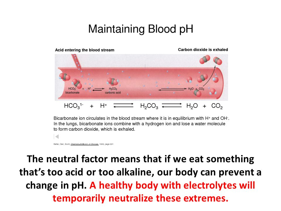 The neutral factor means that if we eat something that's too acid or too alkaline, our body can prevent a change in pH. A healthy body with electrolytes will temporarily neutralize these extremes.