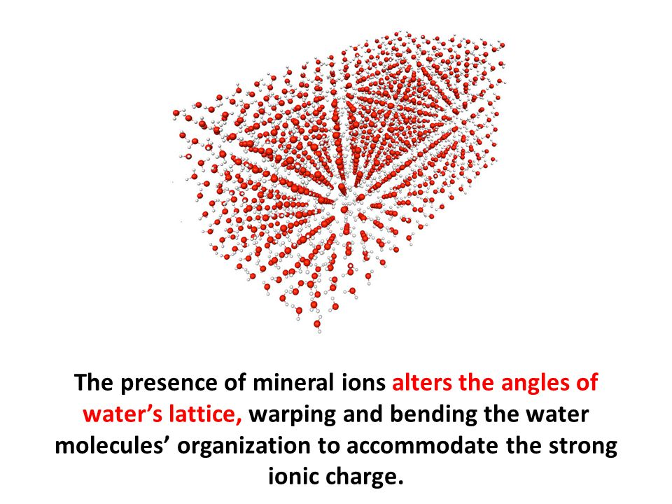 The presence of mineral ions alters the angles of water's lattice, warping and bending the water molecules' organization to accommodate the strong ionic charge.