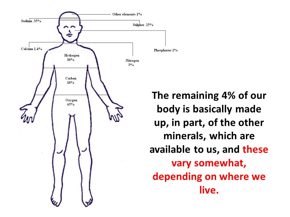 The remaining 4% of our body is basically made up, in part, of the other minerals, which are available to us, and these vary somewhat, depending on where we live.