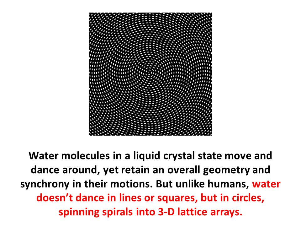 Water molecules in a liquid crystal state move and dance around, yet retain an overall geometry and synchrony in their motions. But unlike humans, water doesn't dance in lines or squares, but in circles, spinning spirals into 3-D lattice arrays.