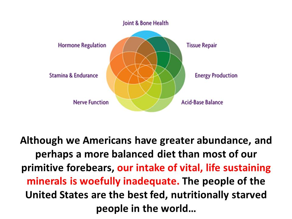 Although we Americans have greater abundance, and perhaps a more balanced diet than most of our primitive forebears, our intake of vital, life sustaining minerals is woefully inadequate. The people of the United States are the best fed, nutritionally starved people in the world…
