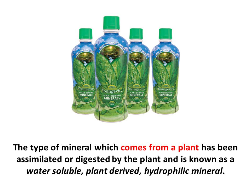 The type of mineral which comes from a plant has been assimilated or digested by the plant and is known as a water soluble, plant derived, hydrophilic mineral.