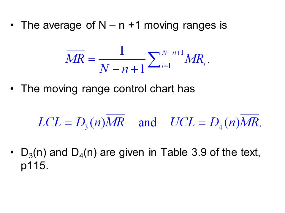 The average of N – n +1 moving ranges is