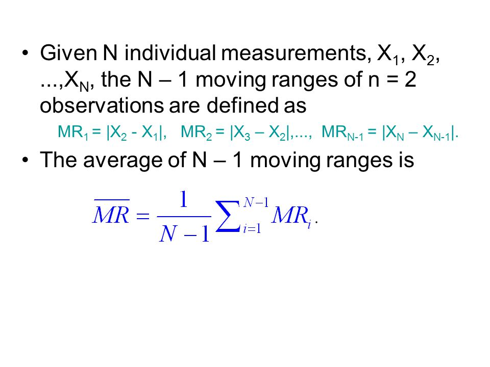 The average of N – 1 moving ranges is