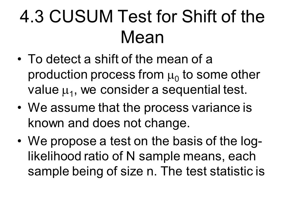 4.3 CUSUM Test for Shift of the Mean
