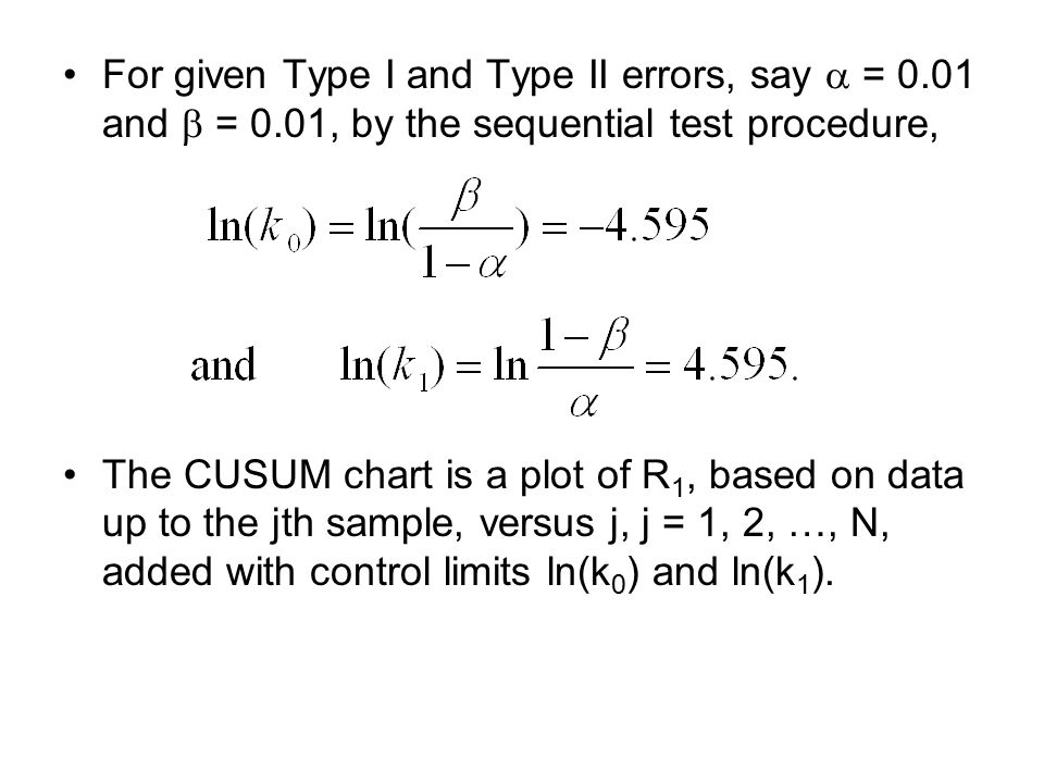 For given Type I and Type II errors, say  = 0. 01 and  = 0