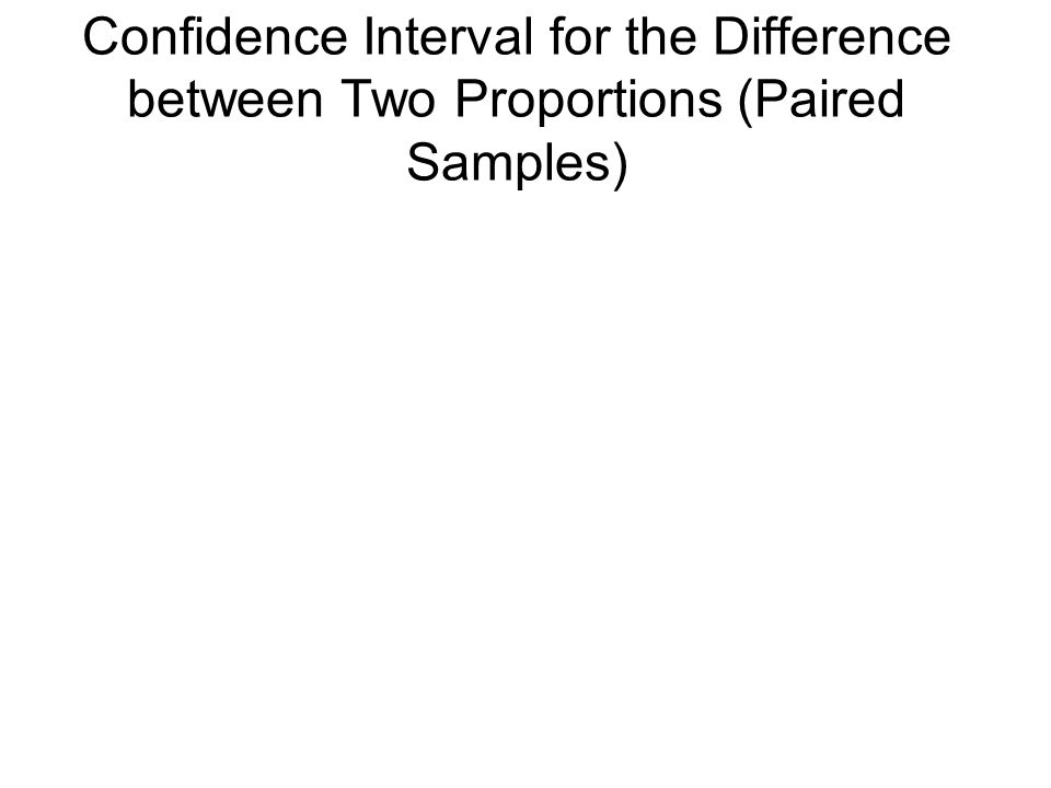 Confidence Interval for the Difference between Two Proportions (Paired Samples)