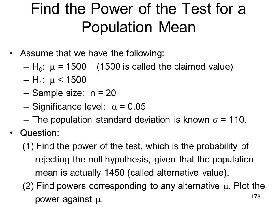 Find the Power of the Test for a Population Mean
