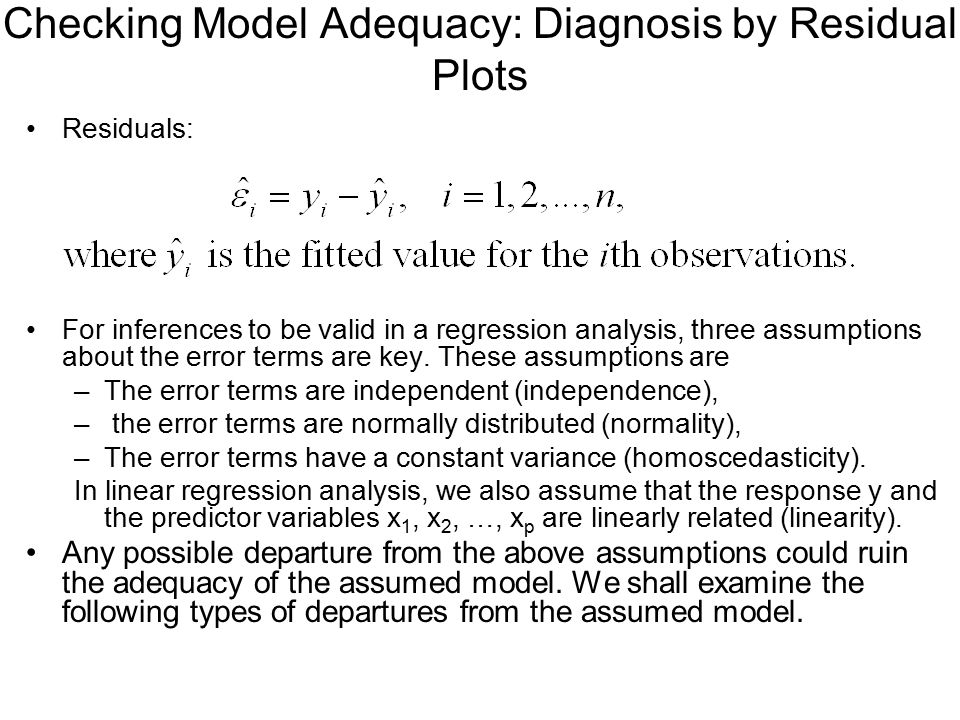 Checking Model Adequacy: Diagnosis by Residual Plots