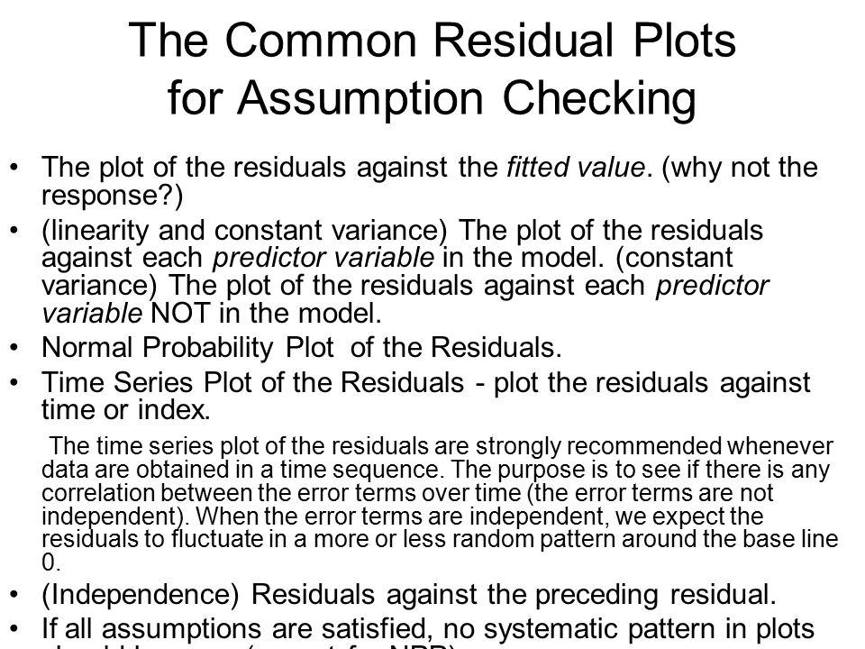 The Common Residual Plots for Assumption Checking