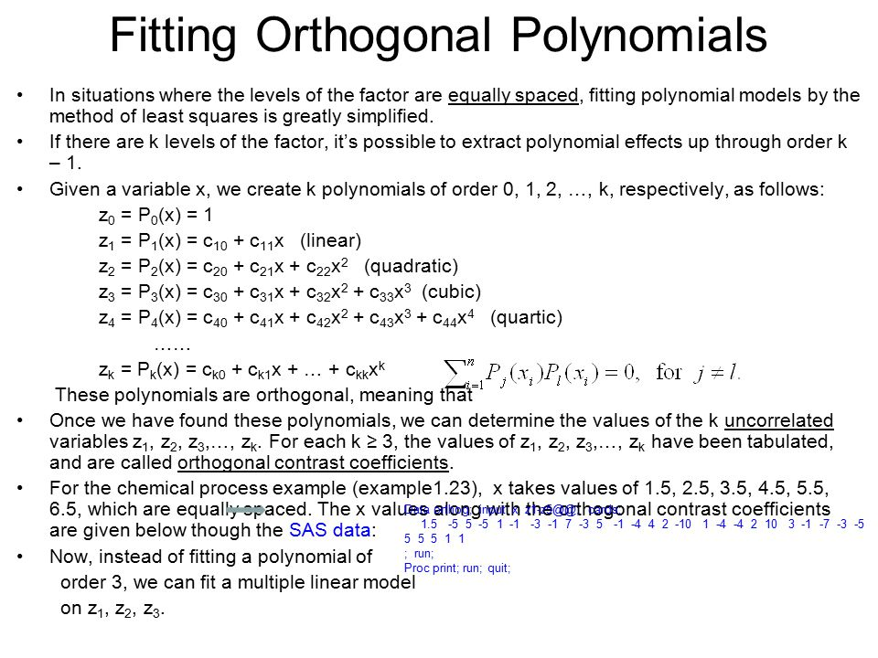 Fitting Orthogonal Polynomials