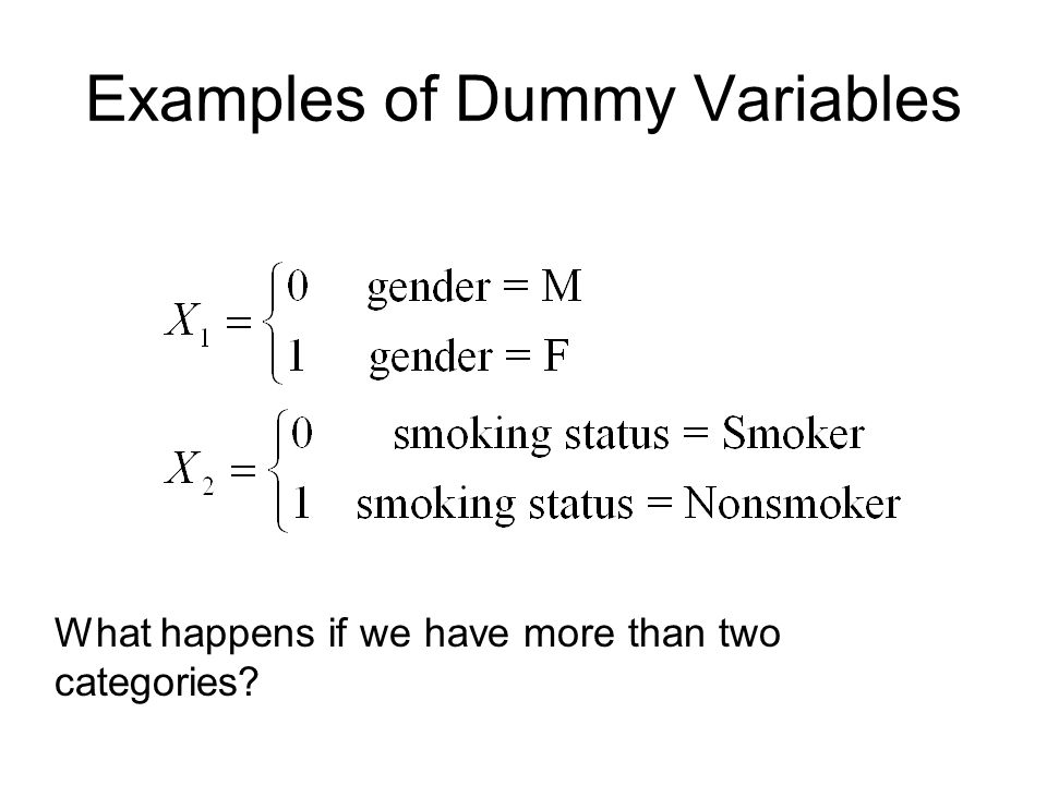 Examples of Dummy Variables