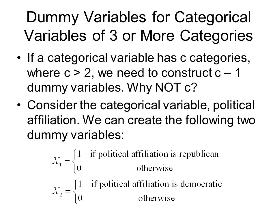 Dummy Variables for Categorical Variables of 3 or More Categories