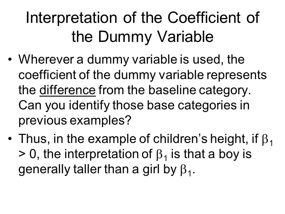 Interpretation of the Coefficient of the Dummy Variable