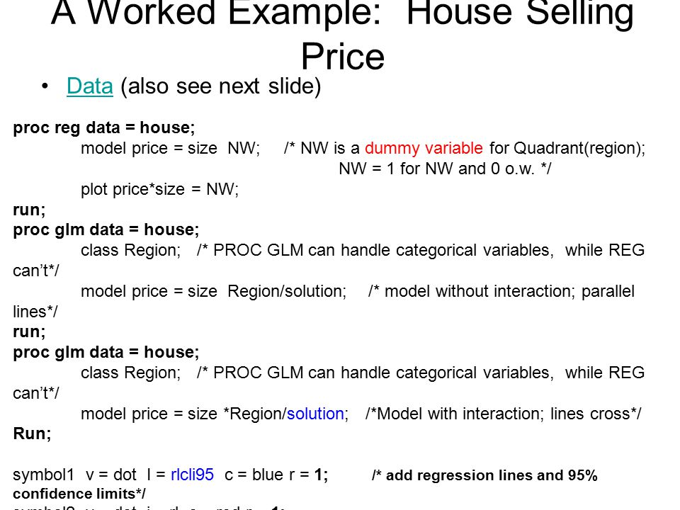 A Worked Example: House Selling Price