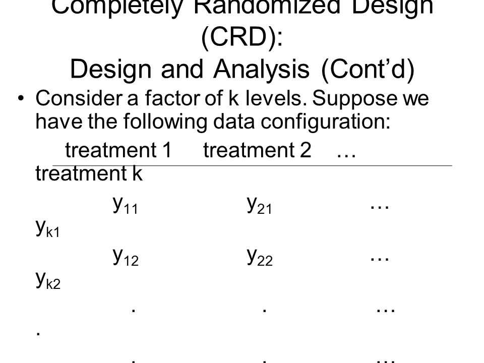 Completely Randomized Design (CRD): Design and Analysis (Cont'd)