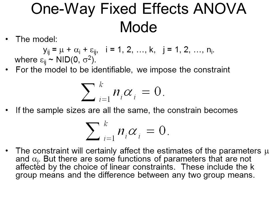 One-Way Fixed Effects ANOVA Mode