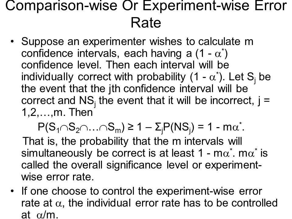 Comparison-wise Or Experiment-wise Error Rate