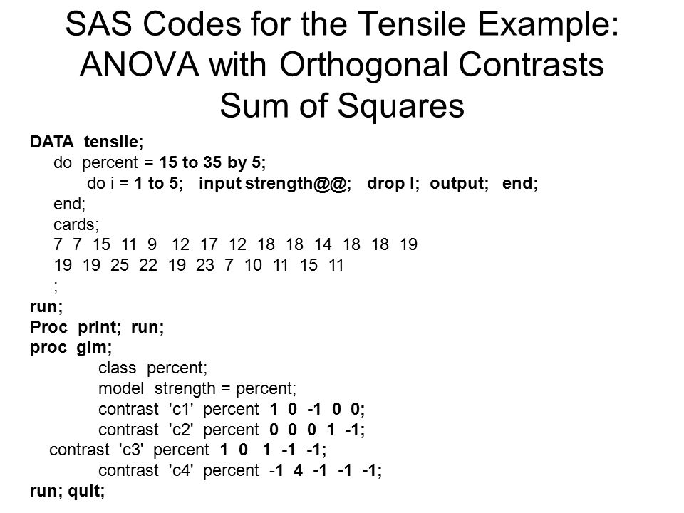 SAS Codes for the Tensile Example: ANOVA with Orthogonal Contrasts Sum of Squares