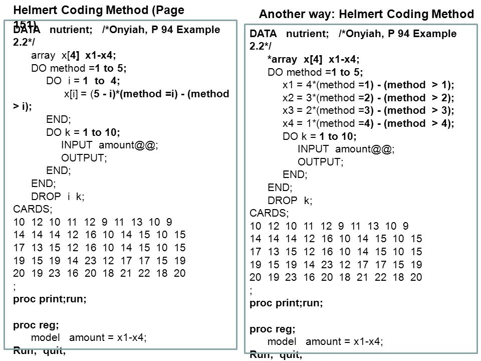 Helmert Coding Method (Page 151) Another way: Helmert Coding Method