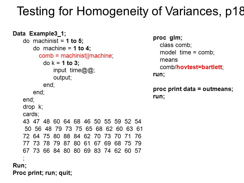 Testing for Homogeneity of Variances, p180