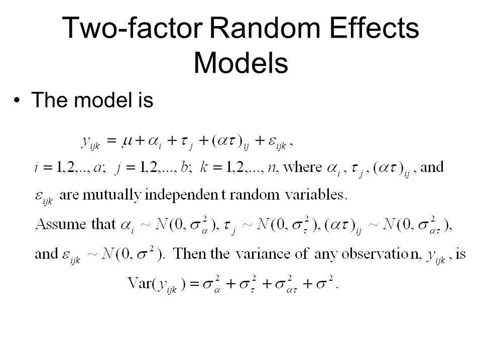 Two-factor Random Effects Models