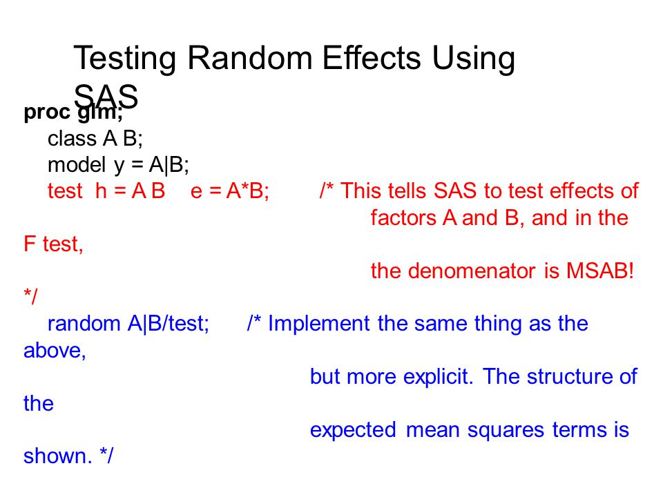 Testing Random Effects Using SAS