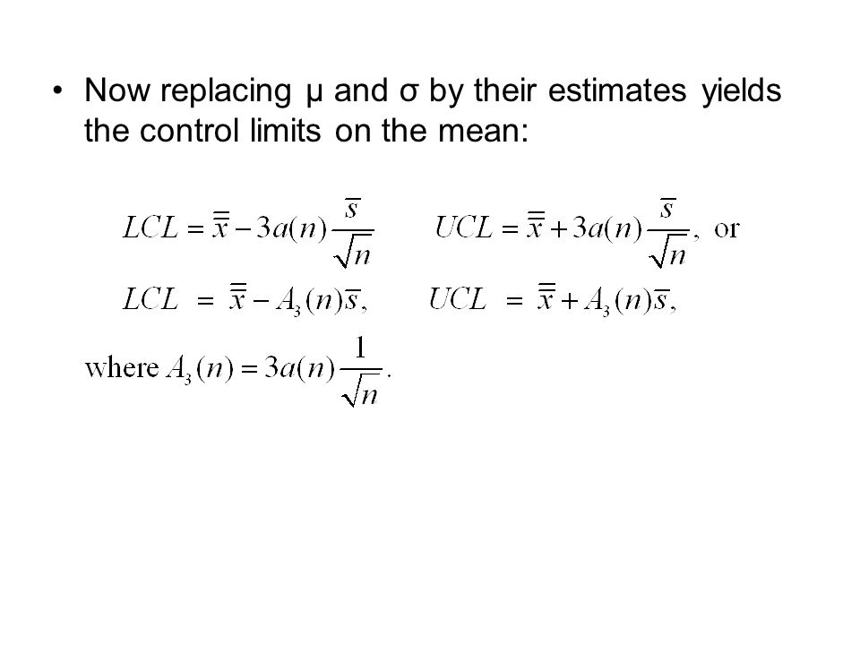 Now replacing μ and σ by their estimates yields the control limits on the mean: