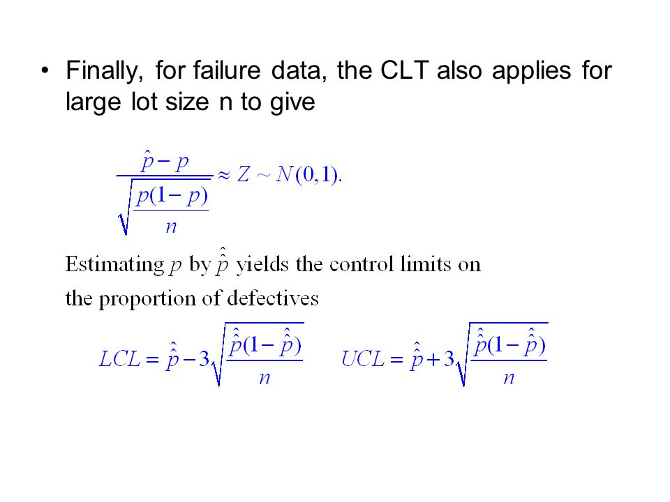 Finally, for failure data, the CLT also applies for large lot size n to give