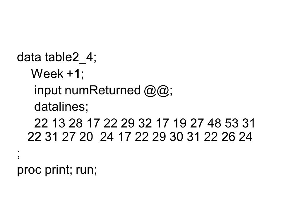 data table2_4; Week +1; input numReturned @@; datalines; 22 13 28 17 22 29 32 17 19 27 48 53 31 22 31 27 20 24 17 22 29 30 31 22 26 24.