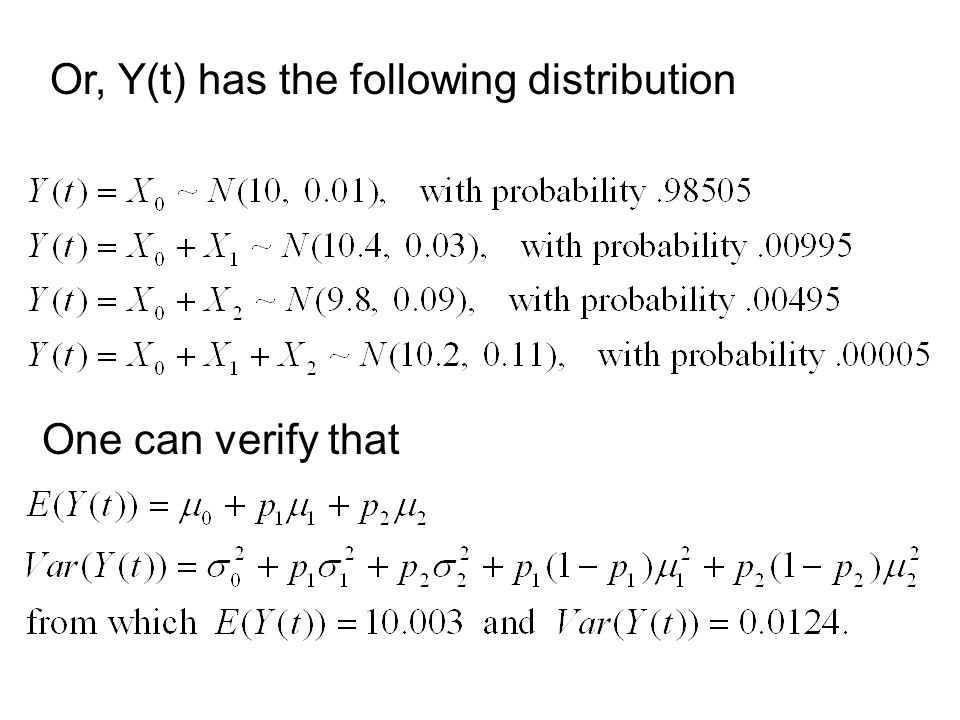 Or, Y(t) has the following distribution