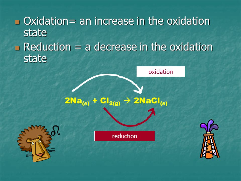Oxidation= an increase in the oxidation state