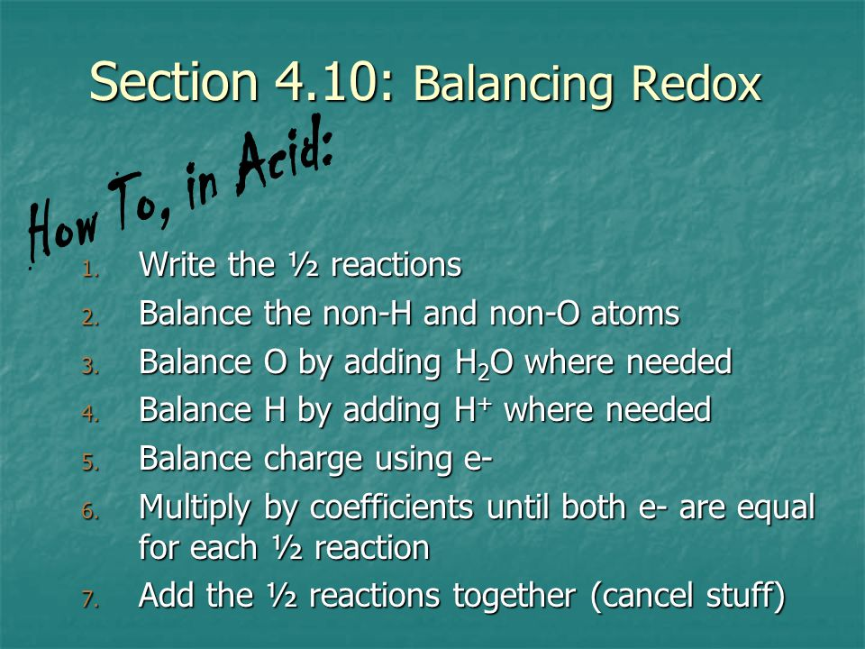 Section 4.10: Balancing Redox