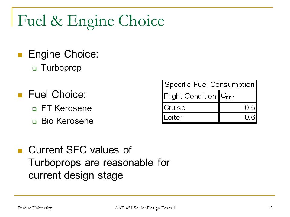 Fuel & Engine Choice Engine Choice: Fuel Choice: