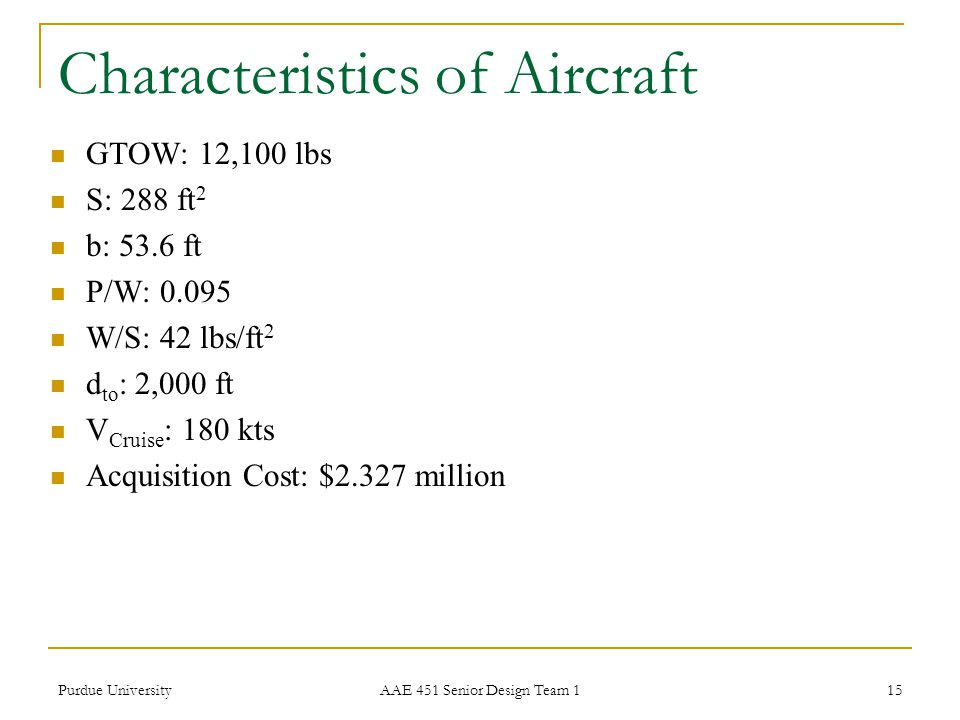 Characteristics of Aircraft