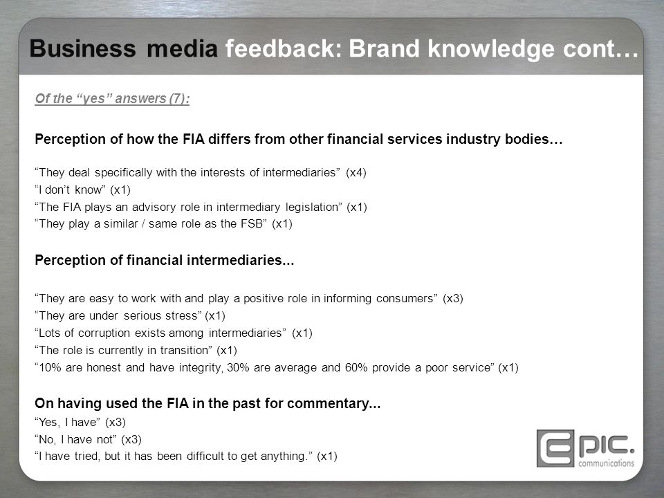 FIA Media perception audit and PR campaign: October ppt download