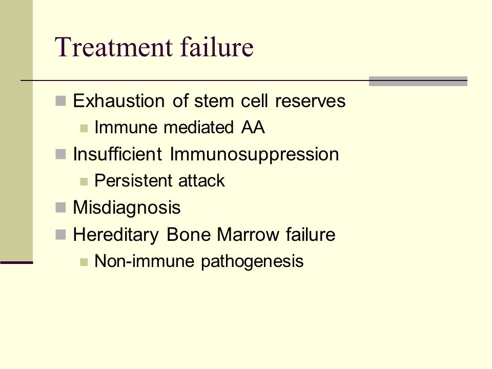 Treatment failure Exhaustion of stem cell reserves