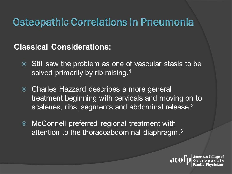 Osteopathic Correlations in Pneumonia